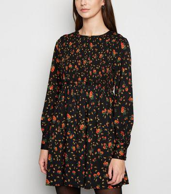 Influence Black Floral Shirred Smock Dress New Look