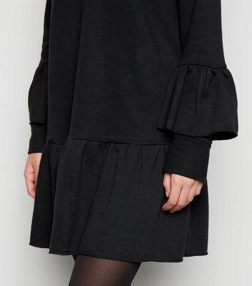 Influence Black Frill Hem Jumper Dress New Look