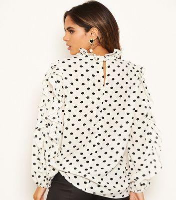 Click to view product details and reviews for Ax Paris Off White Spot Frill Top New Look.