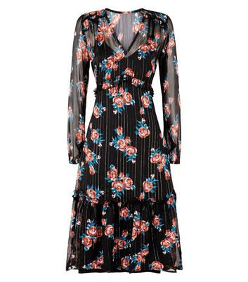 Innocence Black Floral and Stripe Dress New Look