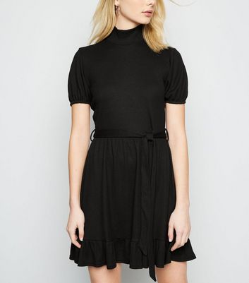 Innocence Black High Neck Ribbed Skater Dress New Look