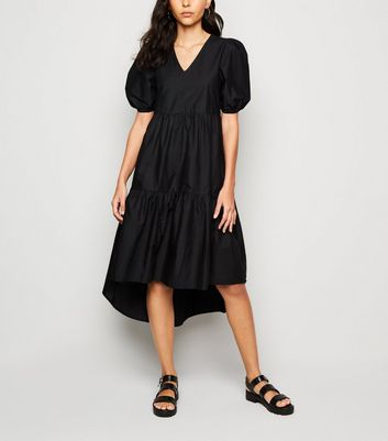 Innocence Black Poplin Midi Dress New Look