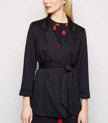 Black Belted Oversized Jersey Blazer