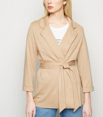 Camel Belted Oversized Jersey Blazer