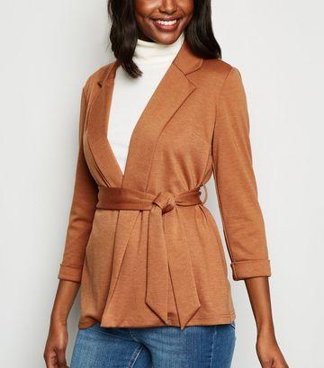 Rust Belted Oversized Jersey Blazer