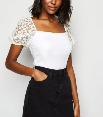 White Daisy Organza Puff Sleeve T Shirt Für später speichern Von gespeicherten Artikeln entfernen