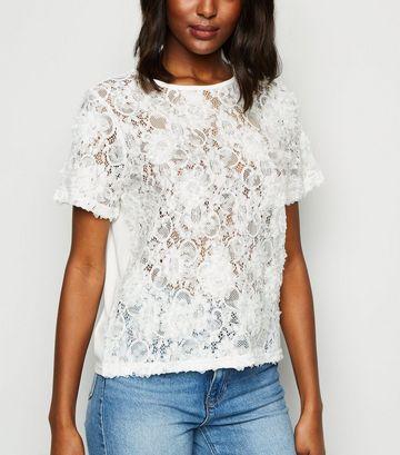 White 3D Lace Top