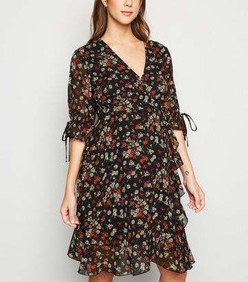 Maternity Black Floral Tie Sleeve Wrap Dress