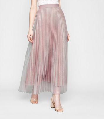 Click to view product details and reviews for Pale Pink Glitter Mesh Pleated Maxi Skirt New Look.