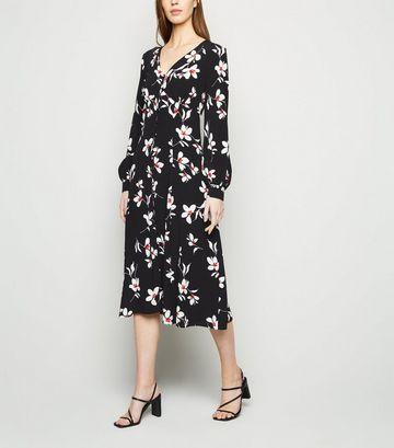Black Floral Button Up Midi Dress