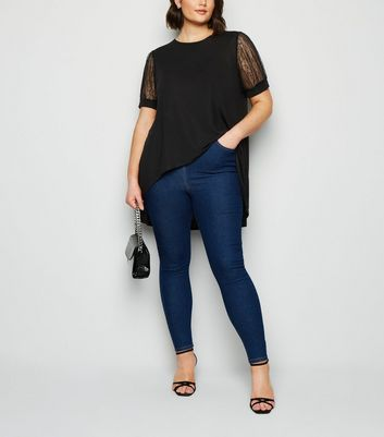blue vanilla curves black lace sleeve t-shirt new look