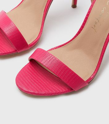 shop for Pink Faux Snake Stiletto Sandals New Look at Shopo