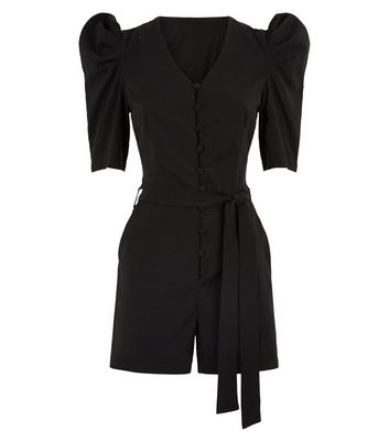 Pink Vanilla Black Button Front Playsuit New Look