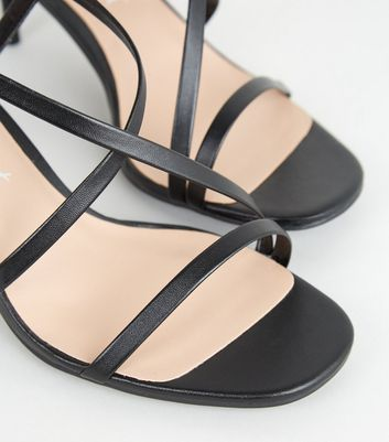shop for Black Leather-Look Strappy Stiletto Heels New Look at Shopo