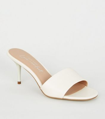Off White Leather-Look Square Toe Mules