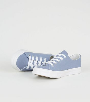 Girls Pale Blue Canvas Trainers | New Look