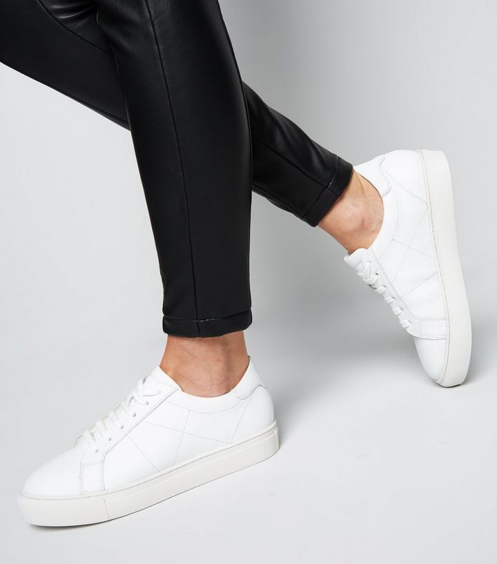 White Leather Seam Detail Lace Up Trainers