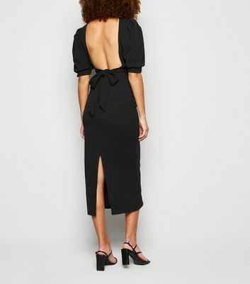 Honey Behave Black Puff Sleeve Backless Dress New Look
