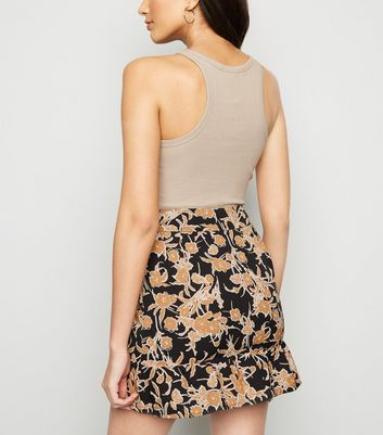 Black Floral Button Up Mini Skirt New Look