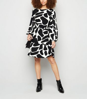 Urban Bliss Black Animal Print Smock Dress New Look