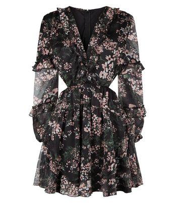 AX Paris Black Floral Chiffon Cut Out Dress New Look