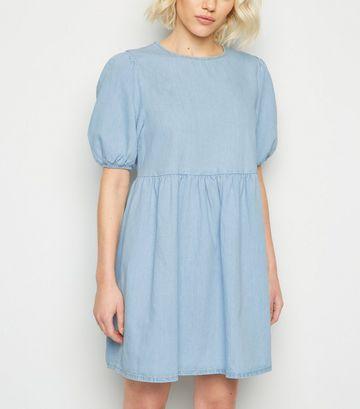 Petite Blue Denim Puff Sleeve Smock Dress