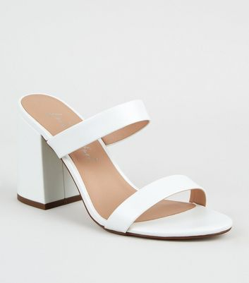 White Leather-Look 2 Strap Block Heel
