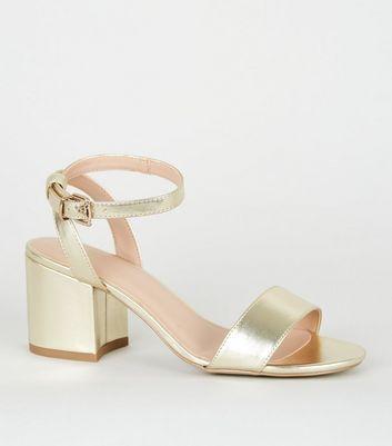 Girls Gold Strappy Block Heel Sandals