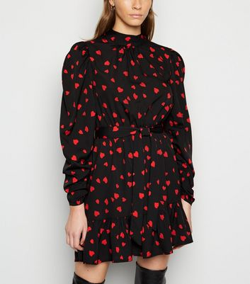 Click to view product details and reviews for Influence Black Heart Print Frill Mini Dress New Look.