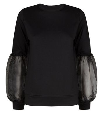 Carpe Diem Black Organza Puff Sleeve Sweatshirt New Look