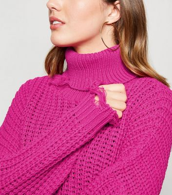 Carpe Diem Bright Pink Distressed Roll Neck Jumper New Look