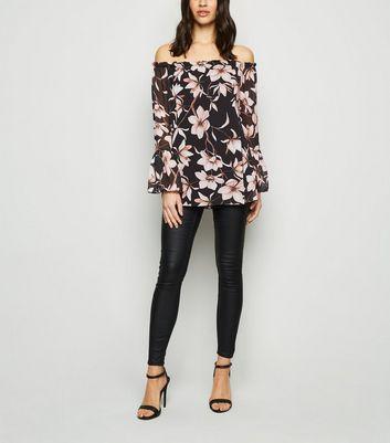 Mela Black Floral Chiffon Bardot Top New Look