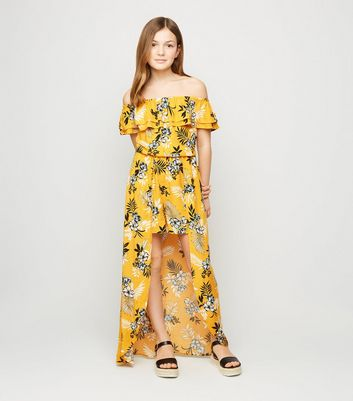 girls yellow tropical floral dress new look