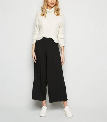 Brave Soul Black Ribbed Wide Leg Trousers New Look