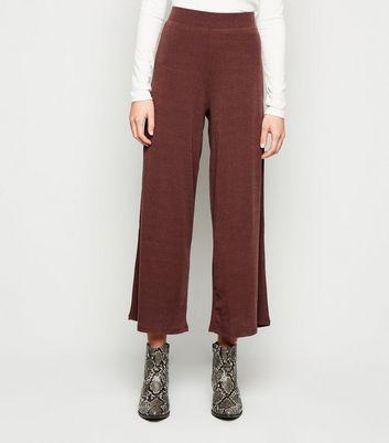 Brave Soul Dark Brown Ribbed Wide Leg Trousers New Look