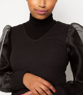 Till We Cover Black Organza Sleeve Top New Look