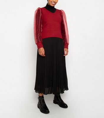 Till We Cover Red Organza Sleeve Top New Look