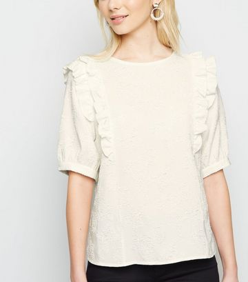Off White Floral Jacquard Frill Trim T-Shirt