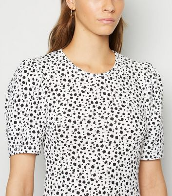 Cameo Rose Black Animal Print Puff Sleeve Dress New Look