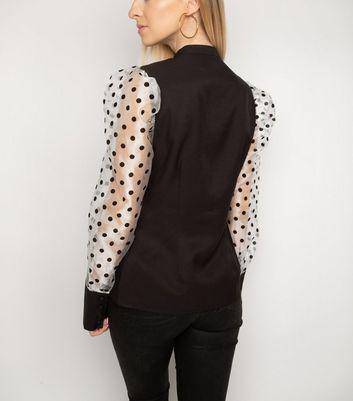 Gini London Black Spot Mesh Puff Sleeve Shirt New Look