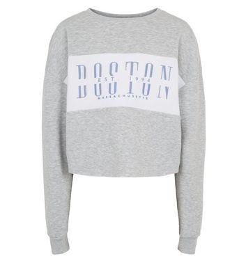 girls grey colour block boston slogan sweatshirt new look