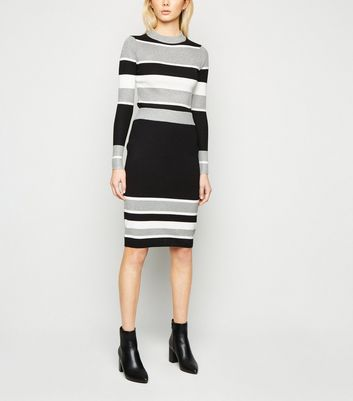 Sunshine Soul Light Grey Colour-Block Stripe Jumper New Look