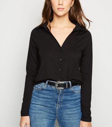 Black Button Up Collared Jersey Top