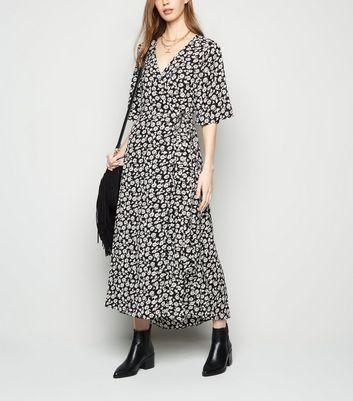 Brave Soul Black Floral Wrap Maxi Dress New Look