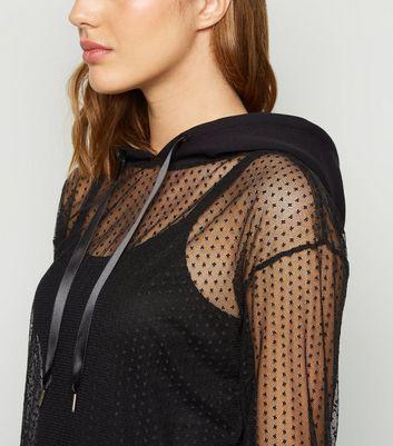 Noisy May Black Spot Mesh Hooded Midi Dress New Look