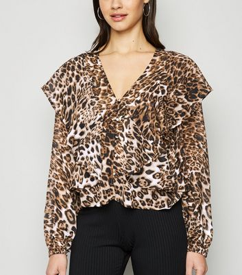 Brown Leopard Print Ruffle Blouse New Look