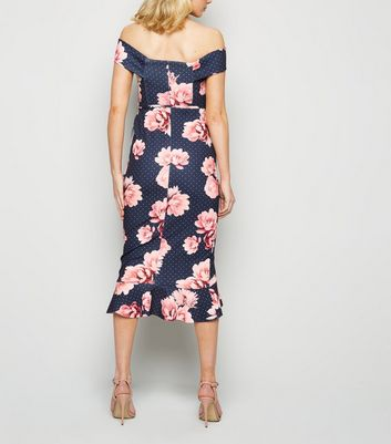 Click to view product details and reviews for Blue Floral Spot Bardot Ruffle Midi Dress New Look.