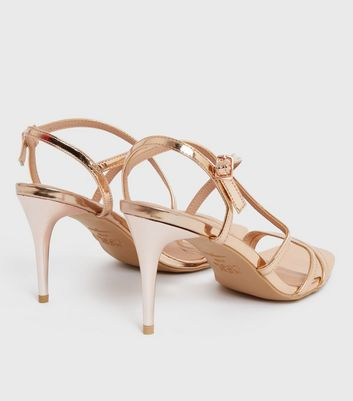 shop for Rose Gold Metallic Strappy Stiletto Heel Sandals New Look at Shopo