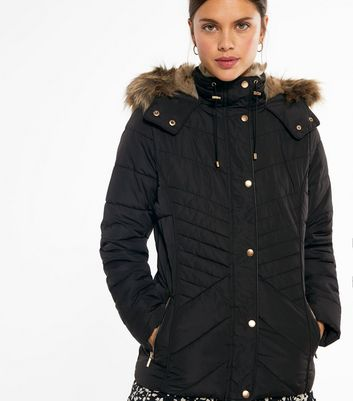 Black Faux Fur Hood and Lining Fitted Puffer Jacket Für später speichern Von gespeicherten Artikeln entfernen