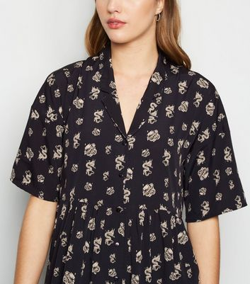 Noisy May Black Dragon Print Smock Shirt Dress New Look